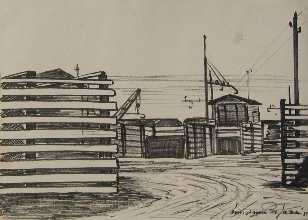 E. Besozzi pitt. 1955 Interno di fabbrica pennarello su cartoncino cm. 23,4x32,4 arc. 768