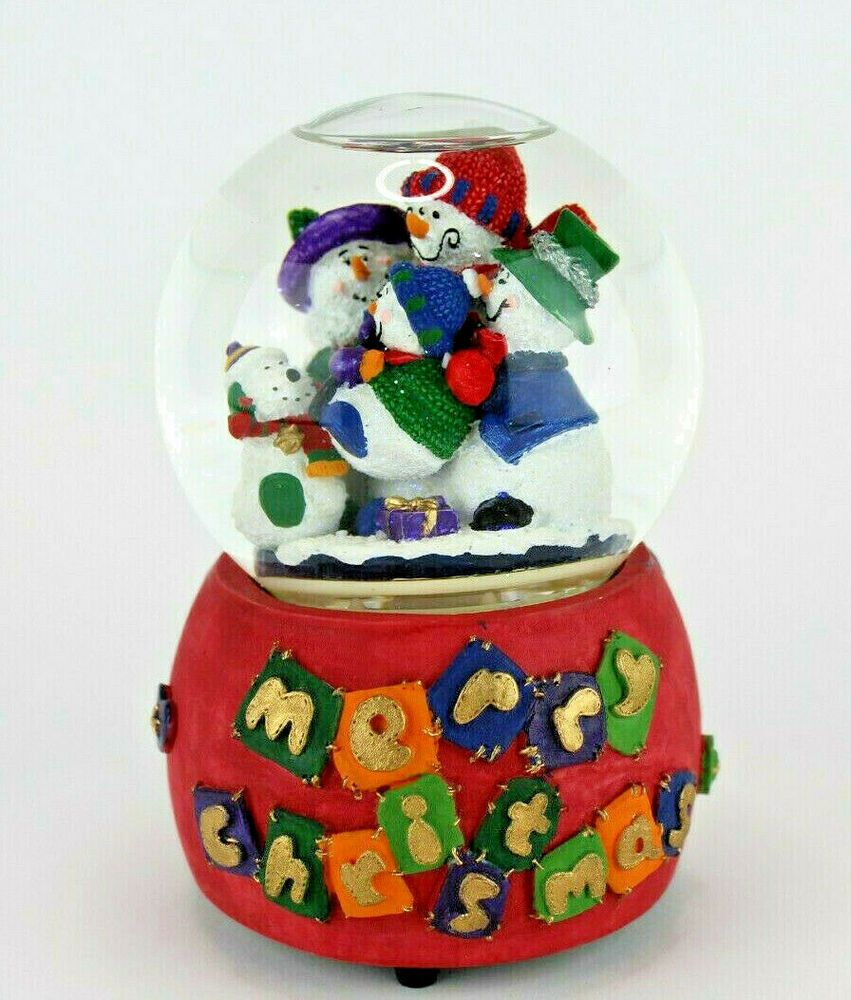 Details about Merry Christmas Rotating Musical Snow Globe Hark The