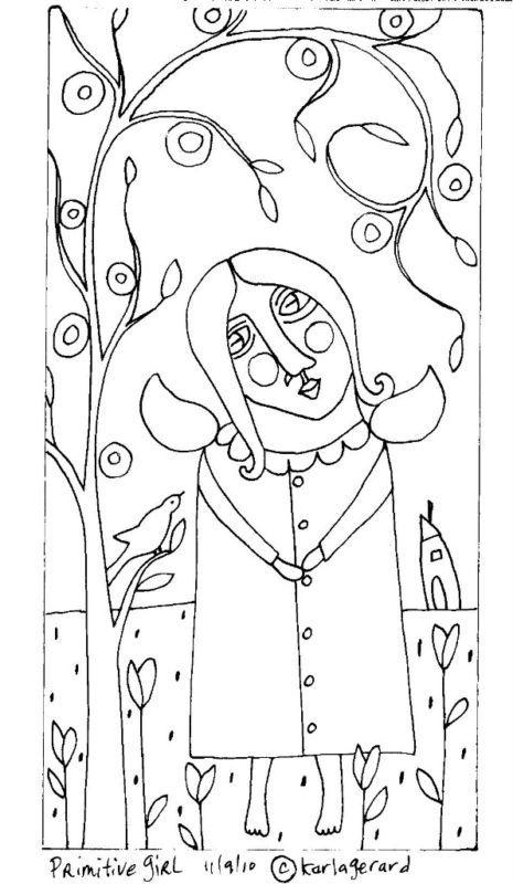RUG HOOK PAPER PATTERN Primitive Girl Folk Art Karla G | eBay