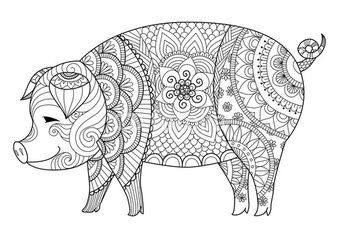 drawing zentangle pig for coloring book for adult or other decorations - Coloring Pages Of Pigs
