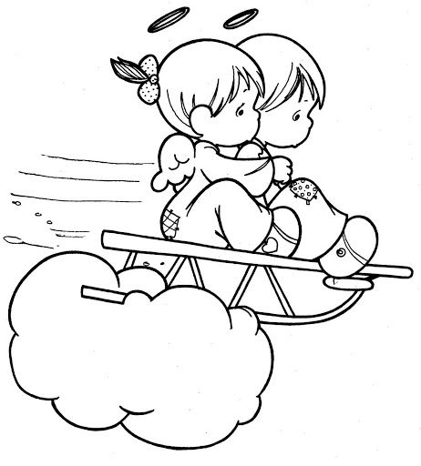 Angels Coloring sleigh | Coloring pages | Pinterest | Colorear ...