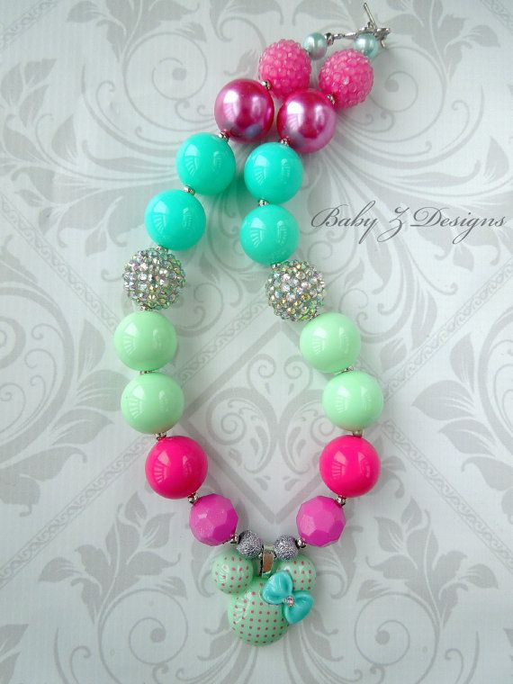 Mint Aqua and Hot Pink Polka Dot Minnie Mouse by babyzdesigns, $20.00