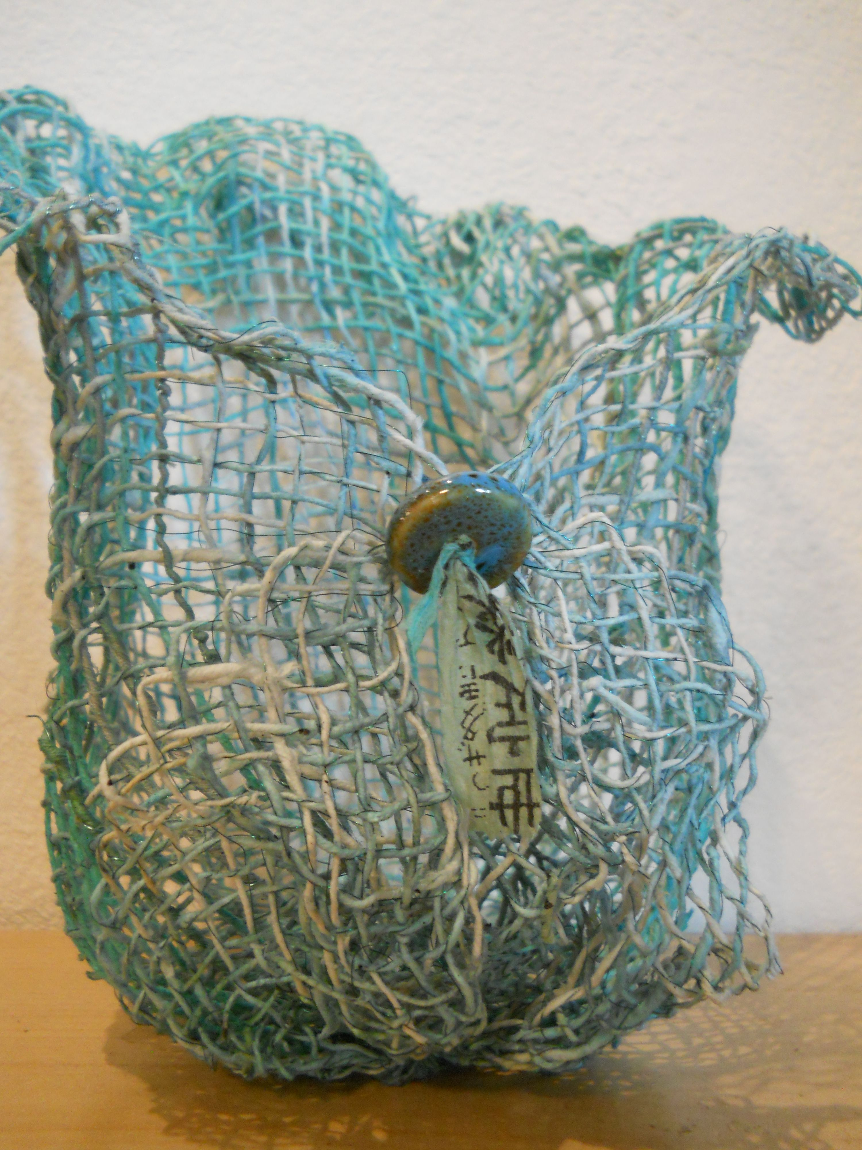 Handspun Thai unryu paper cord, silk threads, and wire basket by ...