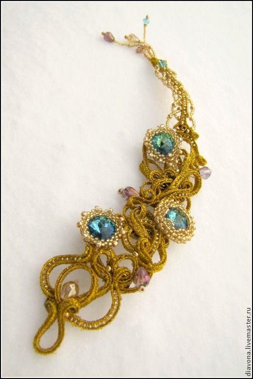 """Купить Сутажный браслет """"Золотое перо"""" (золото, золотой браслет) - золотой, сутажный браслет"""