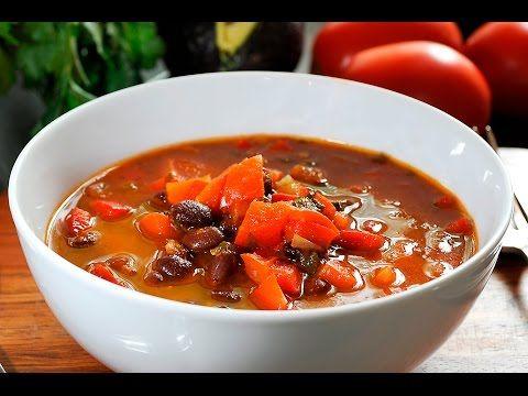 Sopa de frijol con pimientos - YouTube