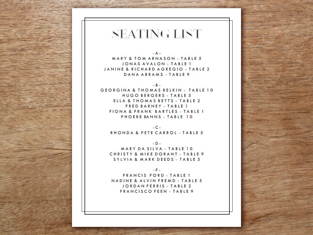 A Wedding Seating List That Is Easy To Make And Delight Look At