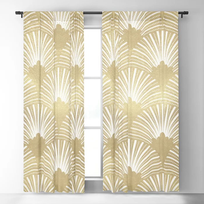 Gold Foil Look Art Deco Pattern Blackout Curtain By Artonwear