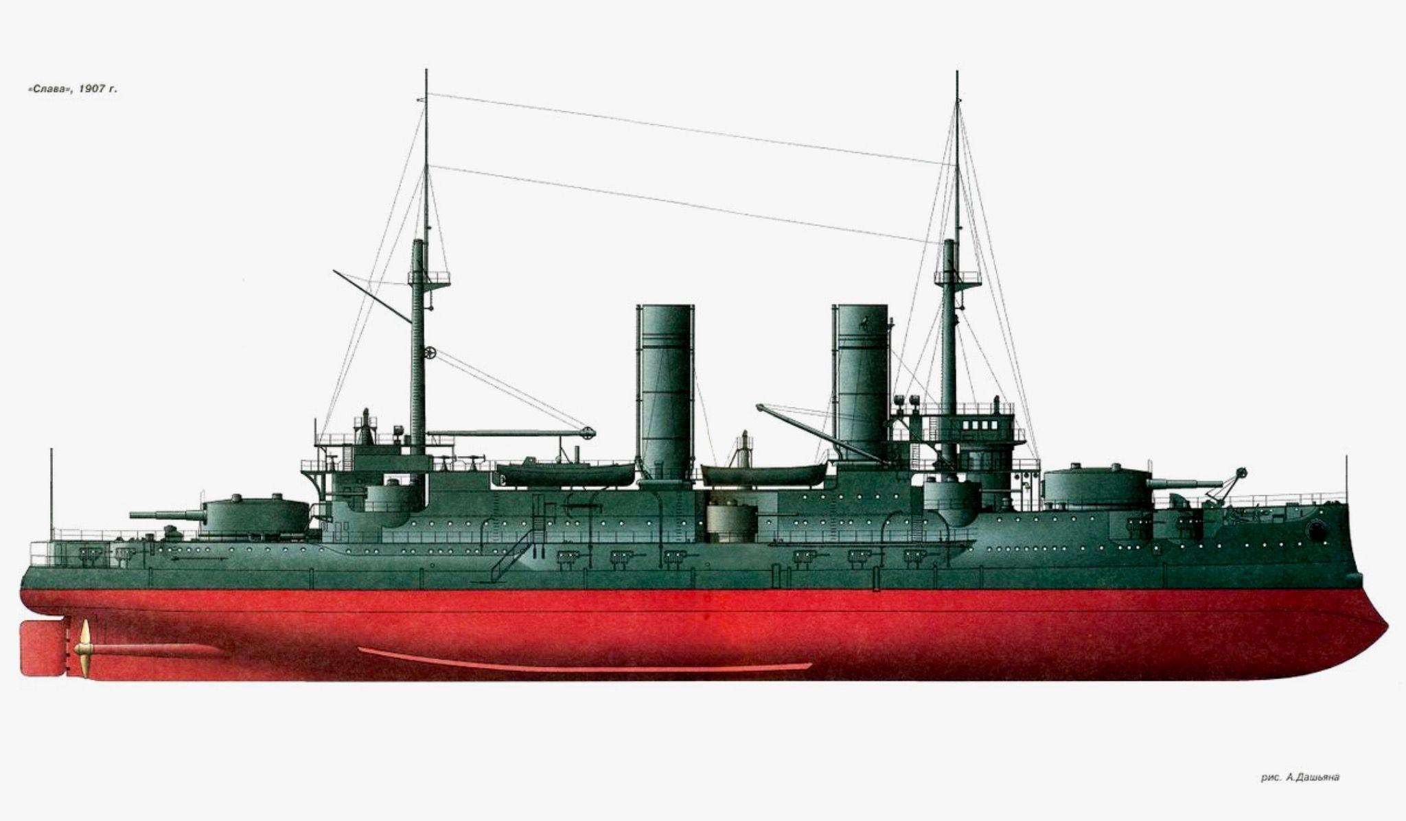Acorazado Slava 1905 en 1907