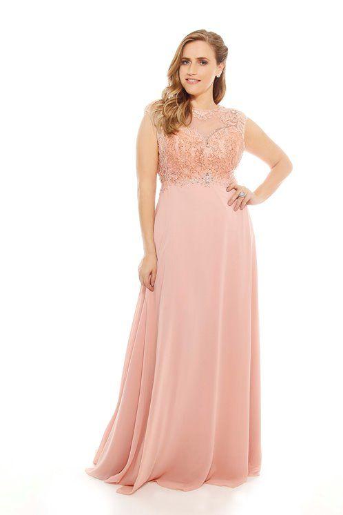 5328bbd06a81e vestido de festa rose madrinha ou formanda Vestidos Madrinha Plus Size