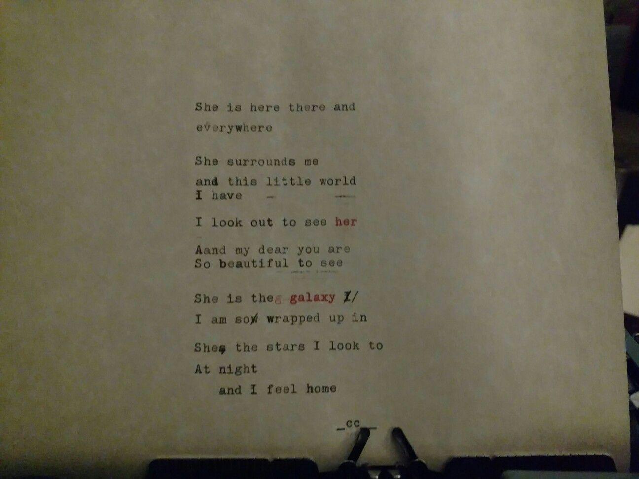 """""""her galaxy""""  #poem #love #poetry #ink #typewriter"""