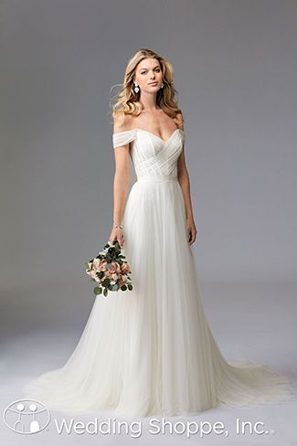 Contemporary The Wtoo Heaton Wedding Dress Stuns In Soft Netting With A Floral Lace Underlay On Bodice Draped Off Shoulder Sleeves And Volumi