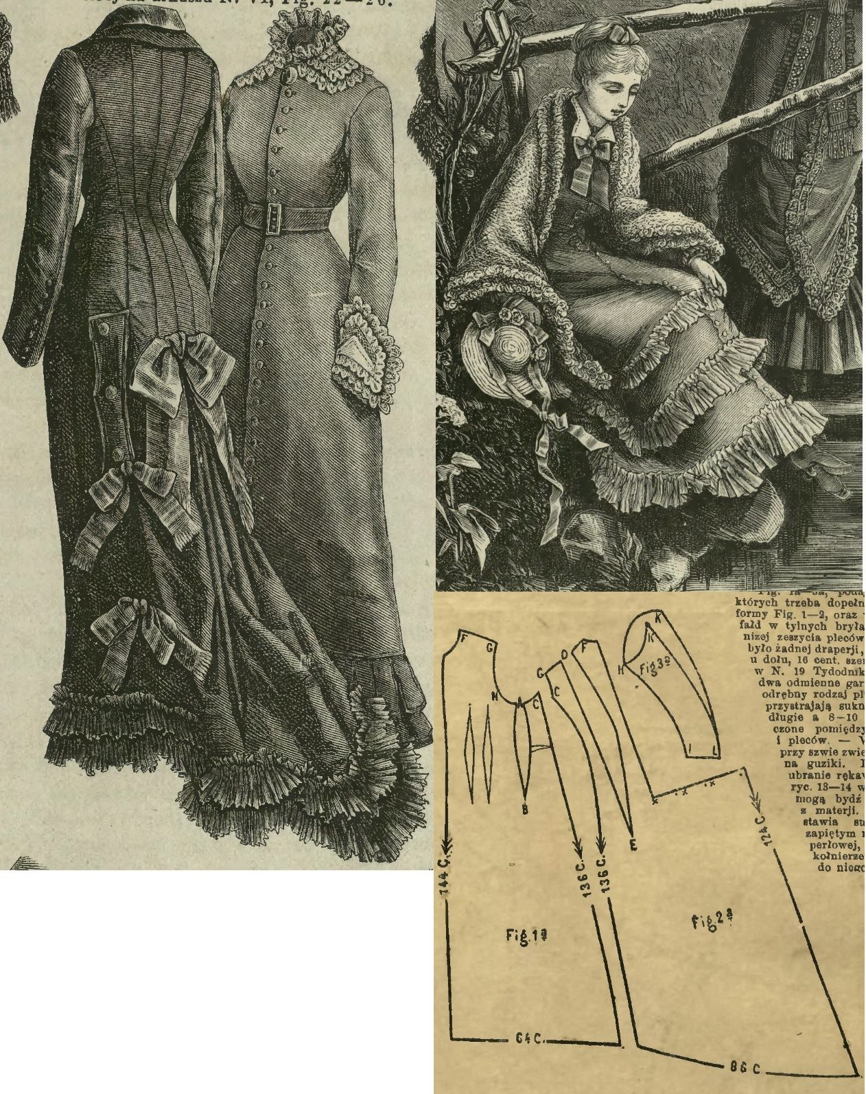 Tygodnik Mód 1878.: Misses' walking princess gownfrom brown beige fabric.
