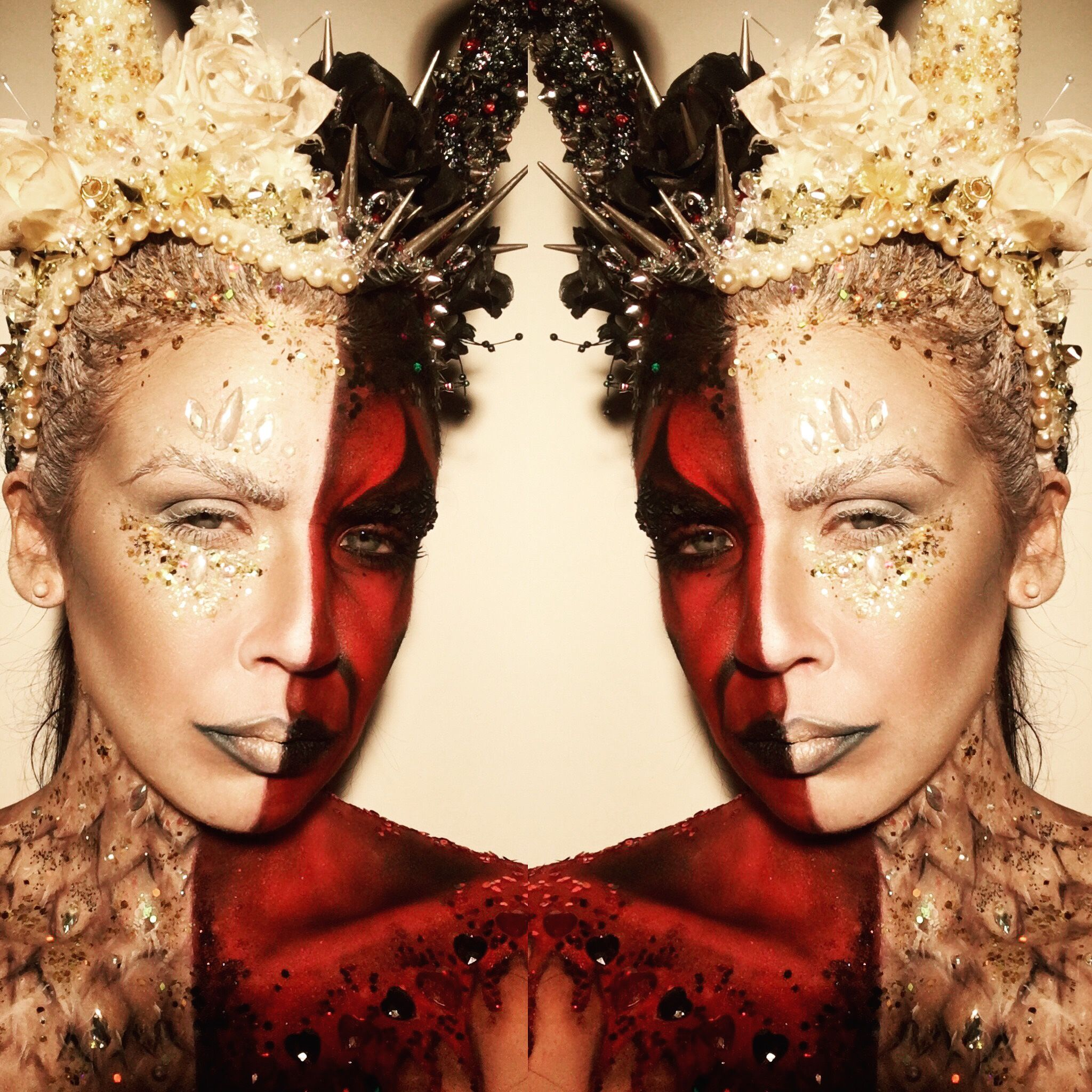 Half angel, half devil makeup, handmade headdress