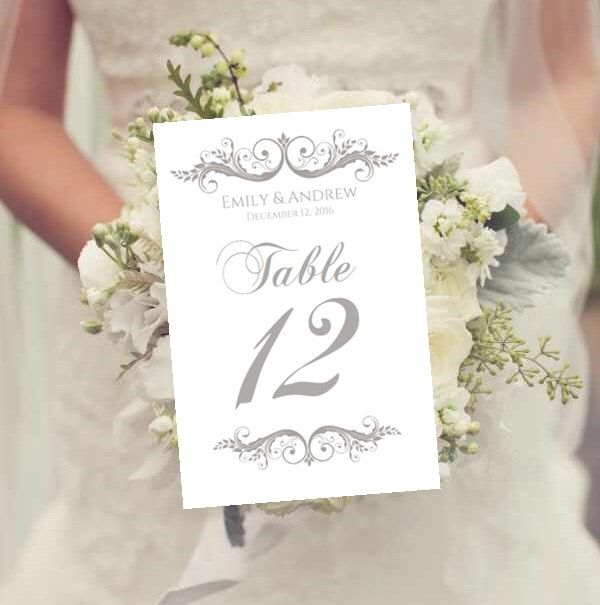 Wedding Table Numbers Template Instant Charcoal Gray Printable Ez To Cut Sarah Design