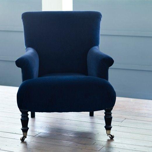 Finley Velvet Armchair, Midnight Blue Velvet armchair