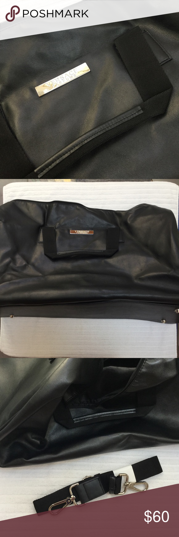 NWOT Versace Leather Duffle Absolutely beautiful weekender bag from Versace  Parfums, made of genuine leather. Never used before, comes with detachable  ... 815c59ab33