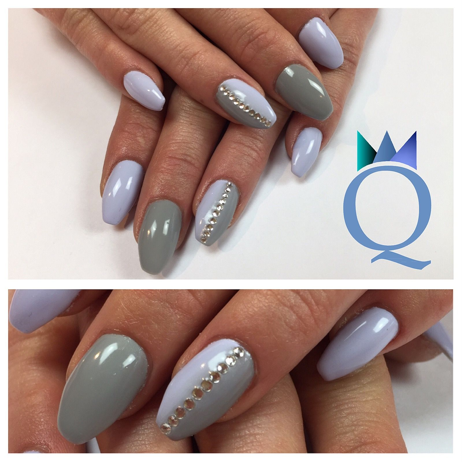 Ballerinanails Gelnails Nails Lilac Grey Ombre Stones