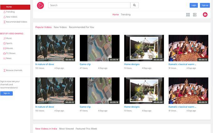 Vimeo Youtube Clone Script Php Video Sharing Script Web Design