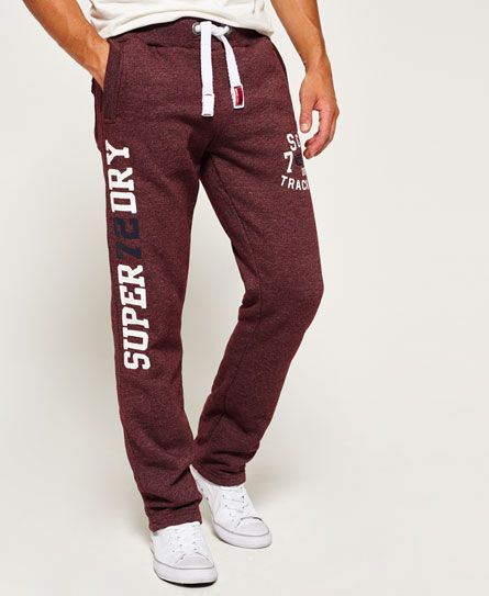 Shop Superdry Mens Trackster Non Cuffed Joggers in Port Grit. Buy now with  free delivery from the Official Superdry Store.