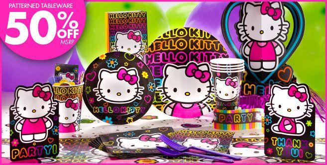 Neon Hello Kitty Party Supplies Neon Hello Kitty Birthday Party