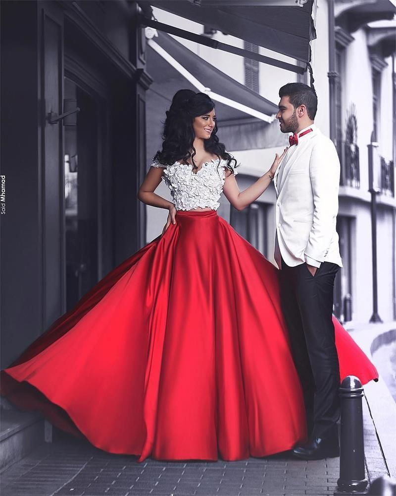 White red two pieces prom dressess flower lace off shoulder satin a