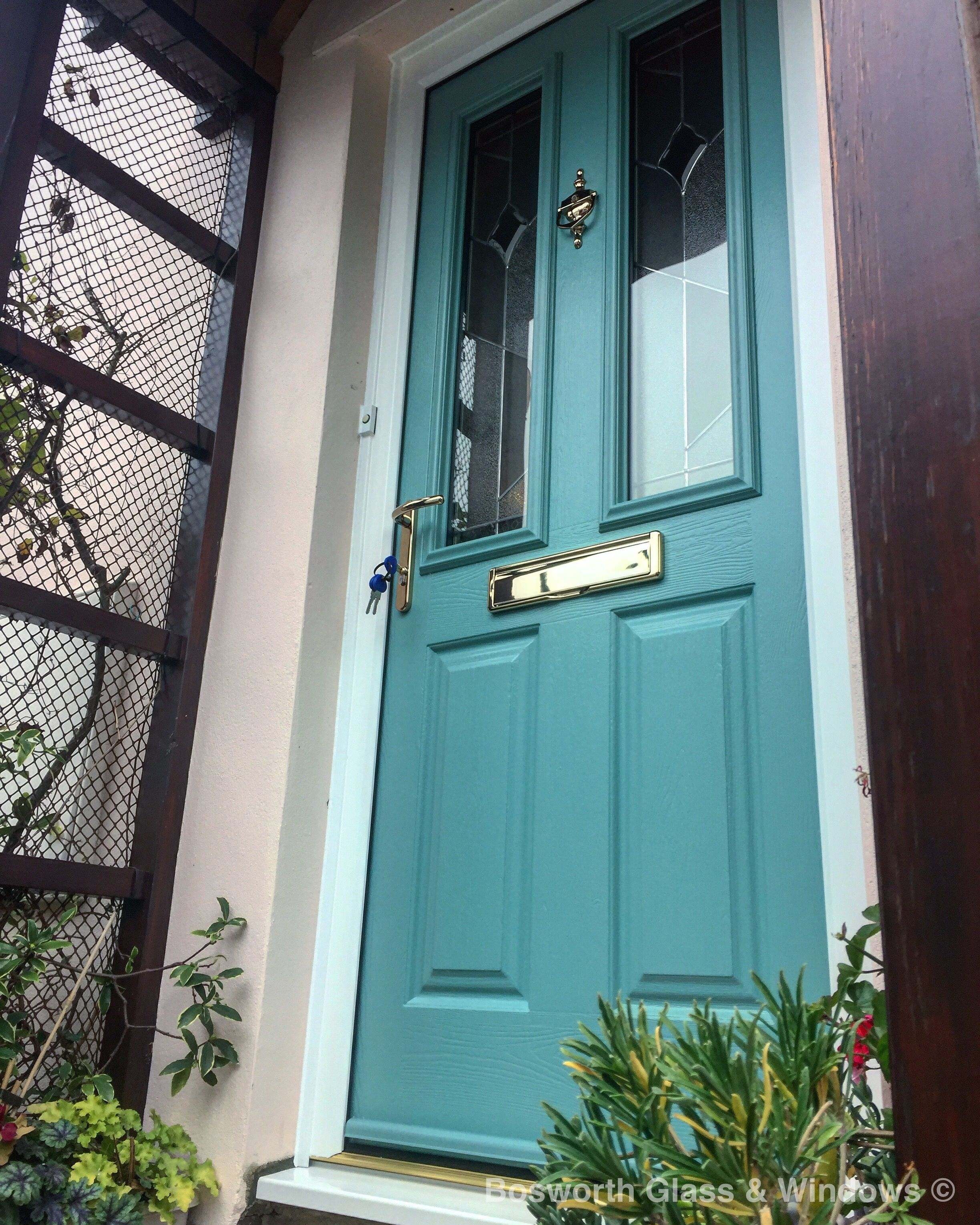 New Turquoise Pastel #soild #secure Composite Door With Polished Gold  Furniture Installed In #. Dorchester ...