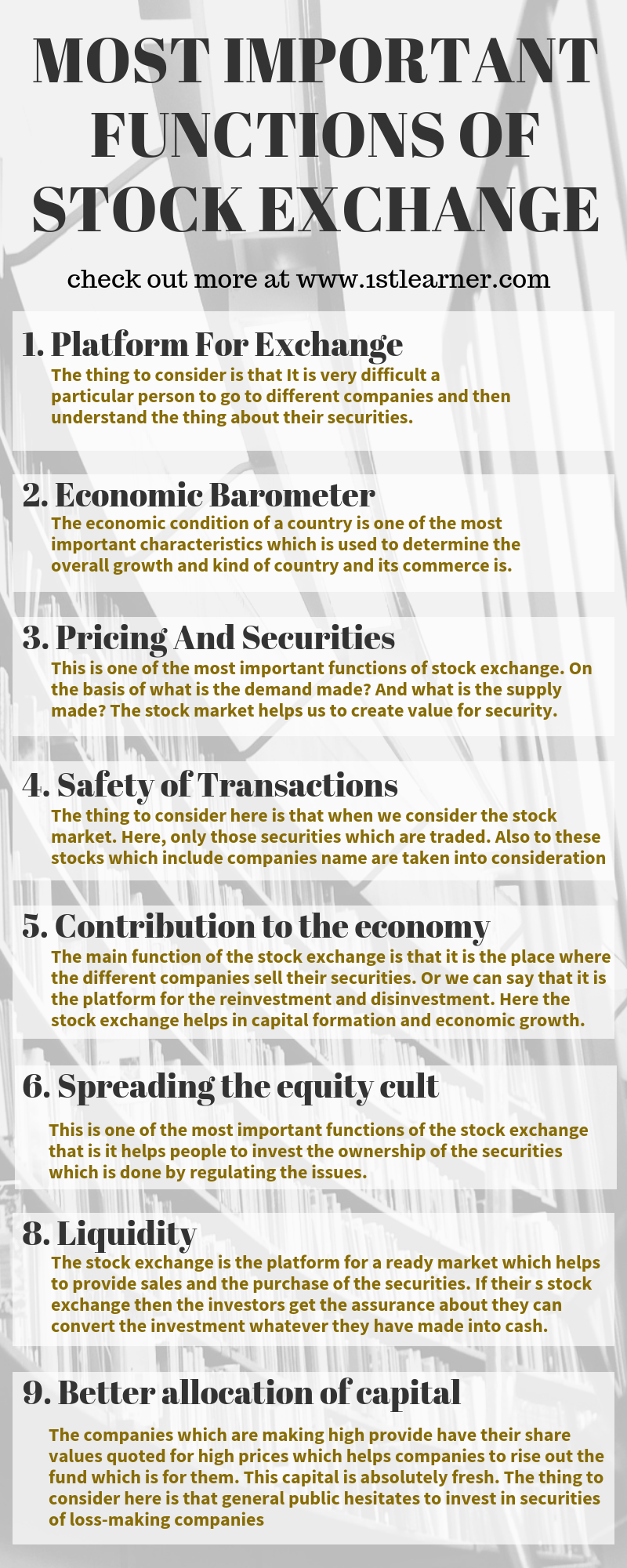 10 Most Important Functions Of Stock Exchange 1stlearner Com