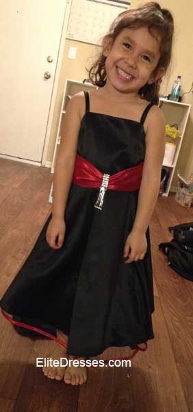 447de4c5f69d Girls Black Formal Dress with Red Sash Such a Beauty!