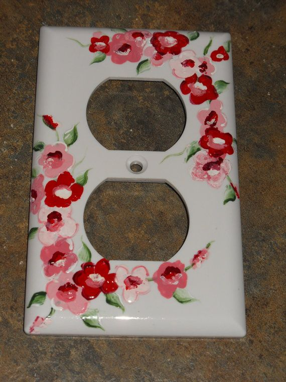 Shabby Cottage Chic Hand Painted Cherry Blossom Electric Outlet