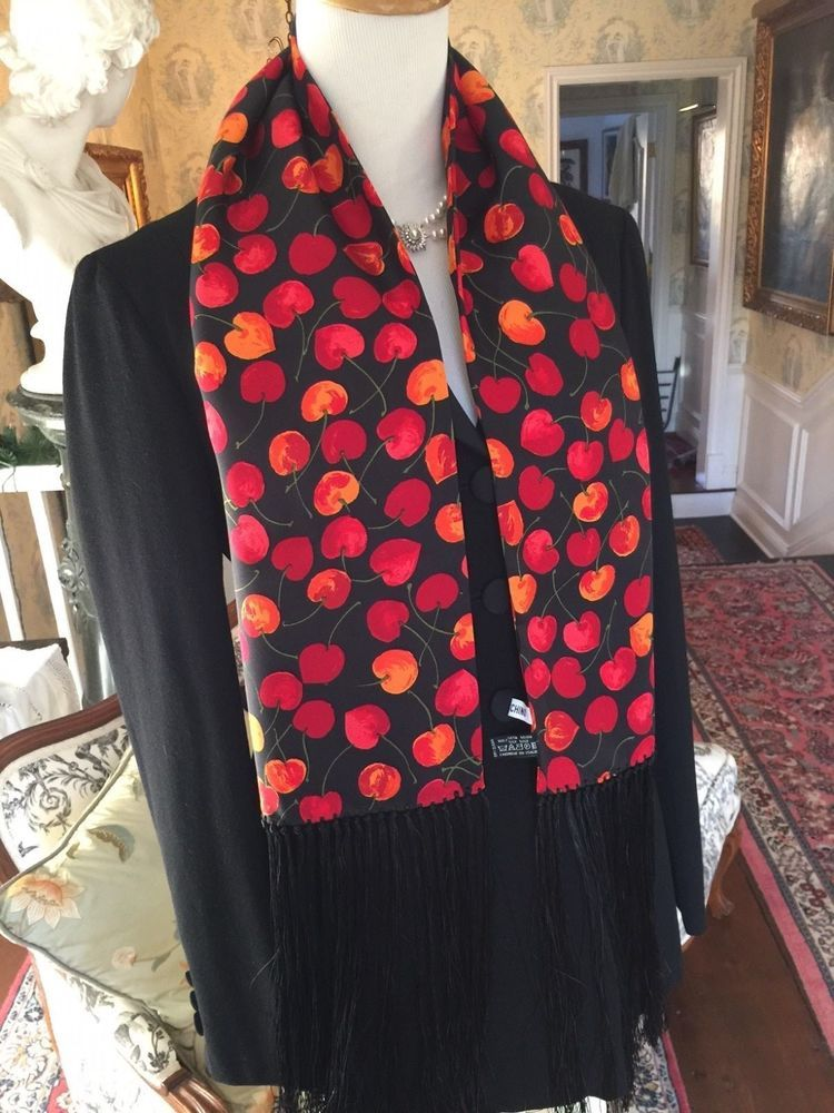 MOSCHINO Fringed Red & Orange Cherry Silk Scarf with Black Fringe – 65 Inches  | eBay