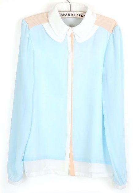 Light Blue Contrast Shoulder Long Sleeve Chiffon Blouse