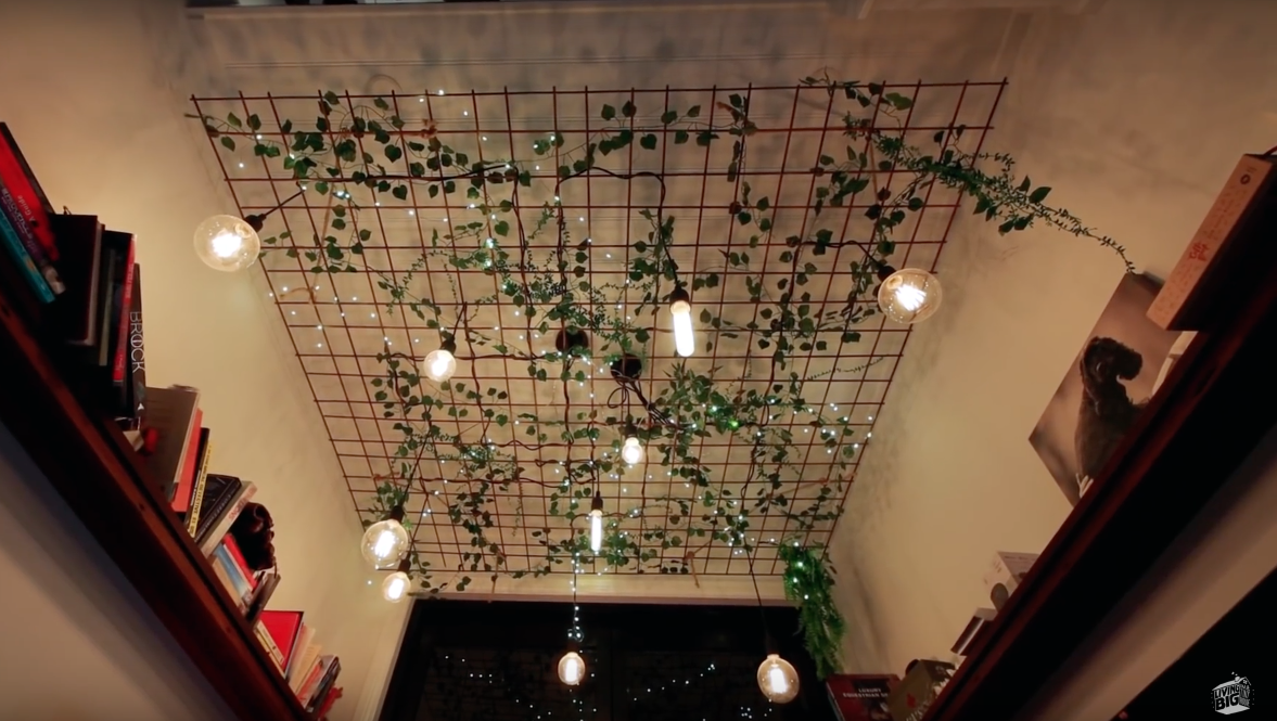 Fairy Light And Ivy Ceiling Decor Modern Tiny House Small Room Decor Fairy Lights Ceiling