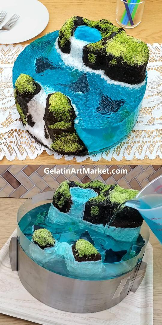 Ocean Island Cake With Stingrays - Jelly Art
