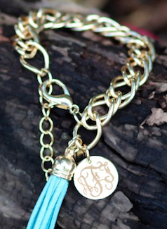 Gold monogram and tassel chain bracelet