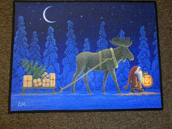 Scandinavian Swedish Gnome Tomte & Moose Rug ~ Door Mat  Art by Eva Melhuish #EVA30