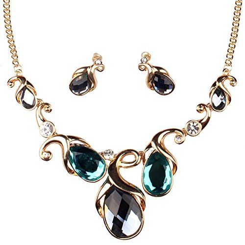 Girl Era Gold Chain Austrian Crystal Love Flower Bridal Prom Necklace and Earring Set #women #fashion #jewel #jewelry #earrings #necklace #pendant #wedding #gift ##