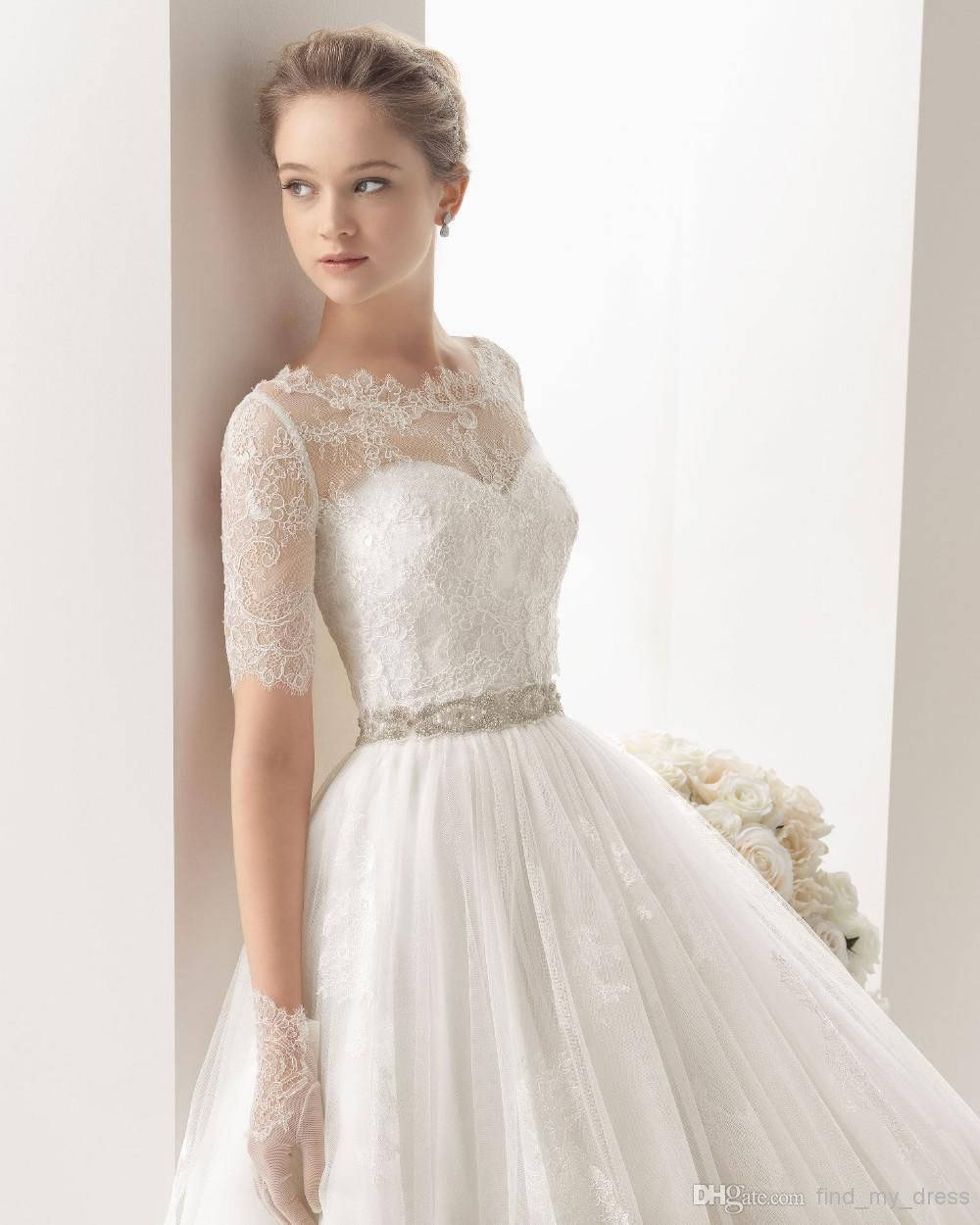 Lace Sleeves Sweetheart Neckline Bridal Gown For The Future
