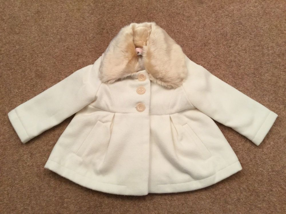 87c81ce718aa BABY GIRLS CREAM WINTER COAT DETACHABLE FUR COLLAR 12 - 18 MONTHS ...