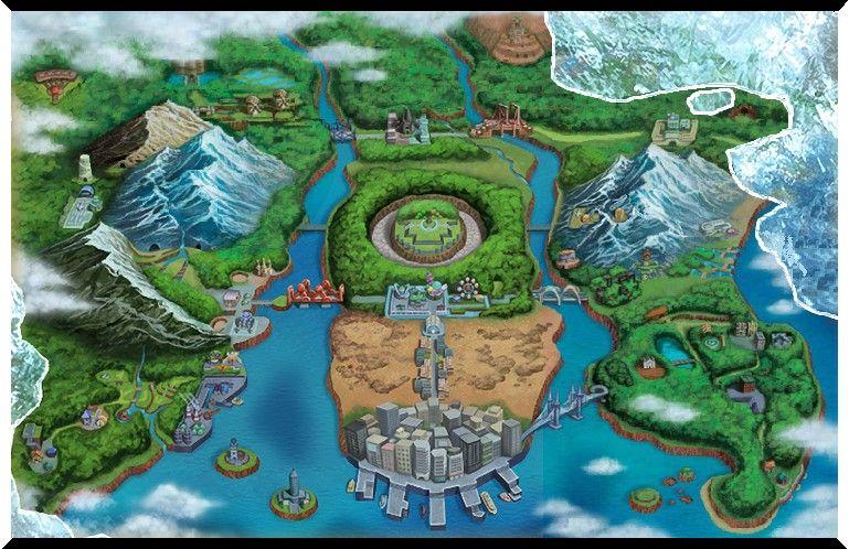 Unova Region Com Imagens Pokemon Fotos Mapa