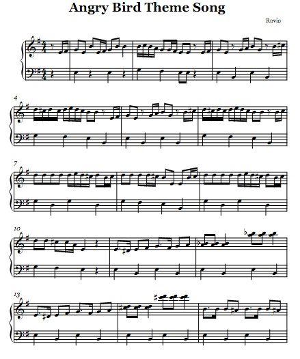 Angry Birds Piano Sheet Piano Music