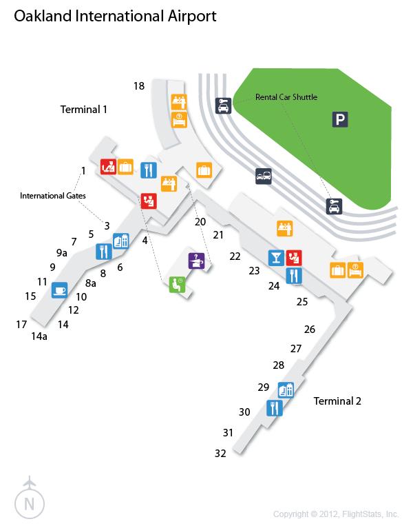 oak metropolitan oakland international airport terminal map