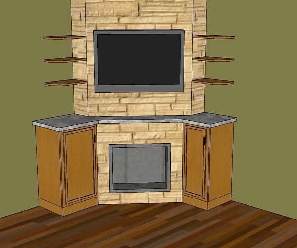 Fireplace designs design ideas in modern stylish for Corner fireplace plans