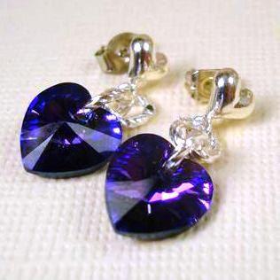 Crystal Heart Earrings Cobalt Iris Blue Violet by pink80sgirl, $24.00