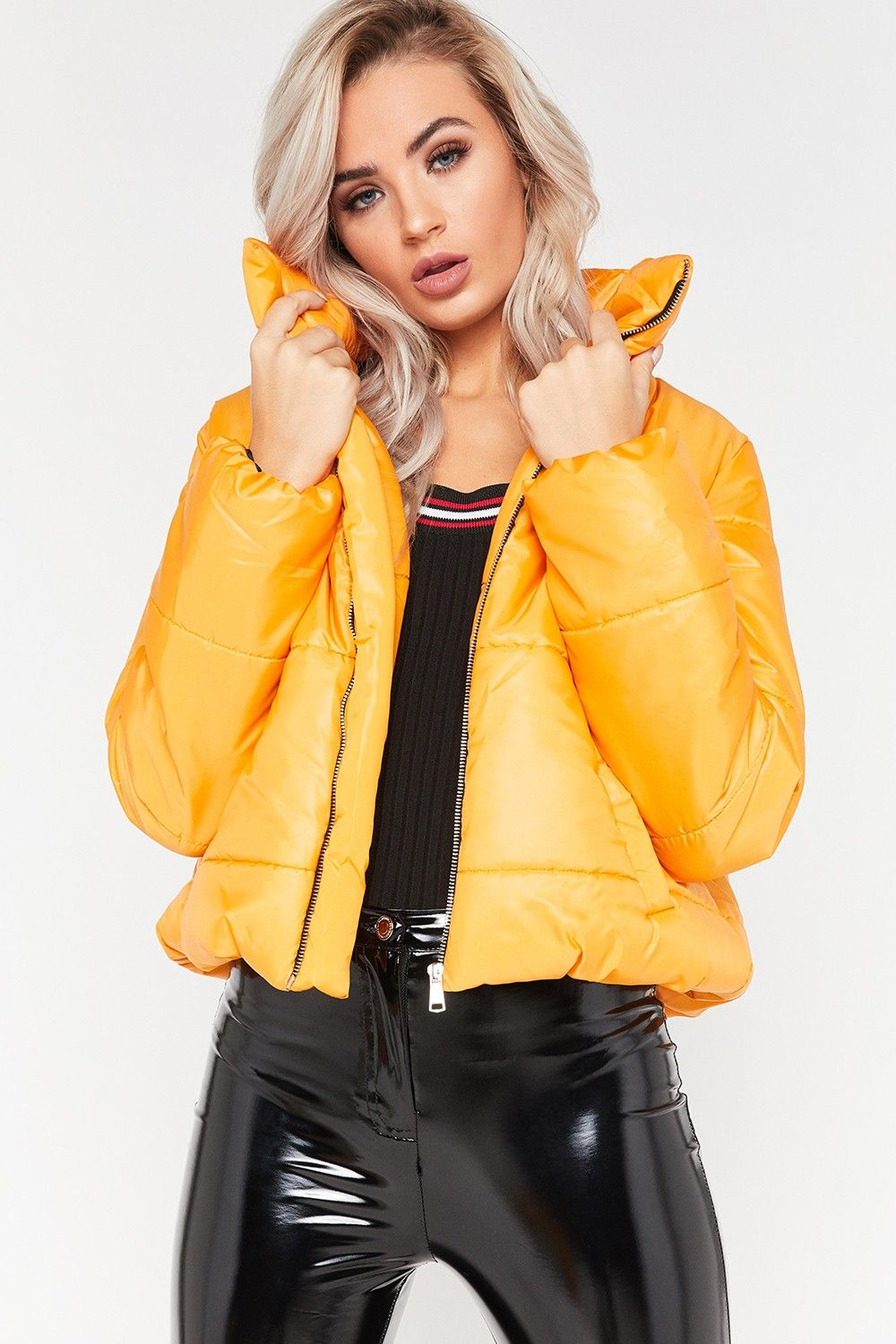 9ba9ae492cd7 Ruby Mustard Cropped Puffer Jacket
