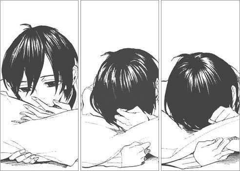 черно белые картинки грусть аниме