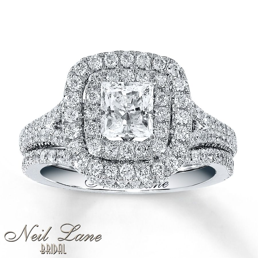 Jared diamond bridal set 2 14 ct tw princess cut 14k white gold a stunning 1 carat princess cut diamond shines in the center of this exquisite engagement ring from the neil lane bridal collection junglespirit Images