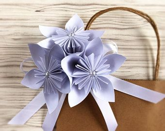 Paper flower gift bow white origami paper flower box bow wedding paper flower gift bow white origami paper flower box bow wedding gift anniversary mightylinksfo