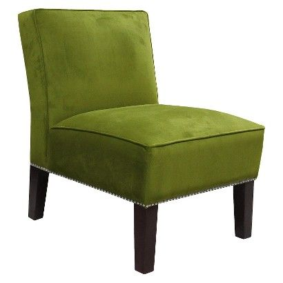 Armless Upholstered Chair Green Silver