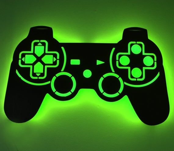 Led Lighted Playstation Controller Wall Art Video Game Art Game Room Decor Sign Ps1 Psx Ps2 Ps3 Ps4 Rgb Color Changing Led W Remote Playstation Controller Game Room Decor Led Color