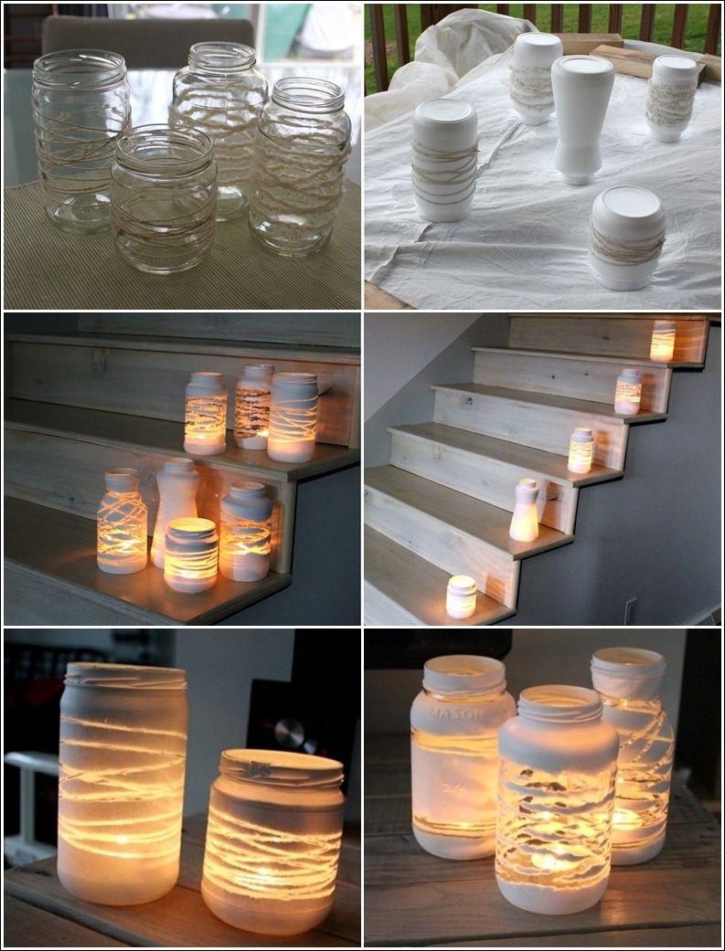 Alte Gläser mit Paketschnur umwickeln - weiß ansprühen